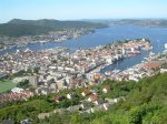 Bergen view from sightseeing platform of mount Floyen
