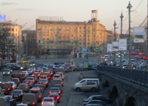 Moscow streets. Rush hour traffic jam.