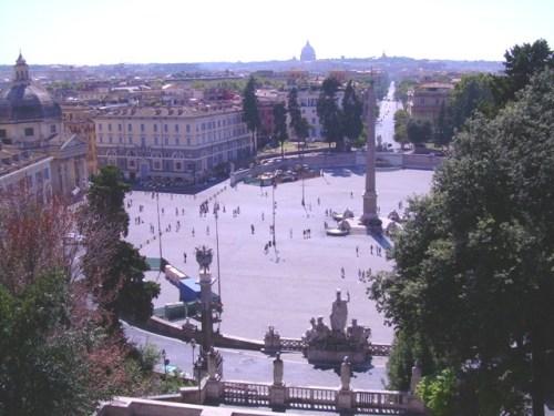 View from Pincio view platform - Piazza del Popolo